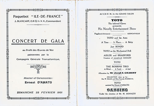 Gala Concert Program, CGT French Line SS Ile de Frence Charity Gala Concert, 22 February 1931.