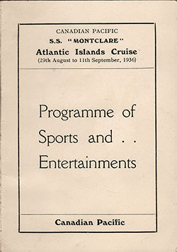 Front Cover, Sports and Entertainment Program, Canadian Pacific Atlantic Island Cruise on the SS Montclare