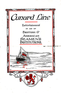 Front Cover, Cunard Line Entertainment in Aid of British & American Seamen's Instituions, 21 August 1924.