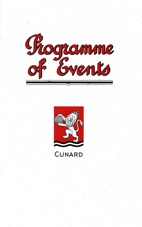 Front Cover, Events Program for a September 1929 Voyage of the RMS Aquitania of the Cunard Line.