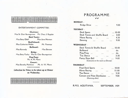 Events Program for a September 1929 Voyage of the RMS Aquitania of the Cunard Line.