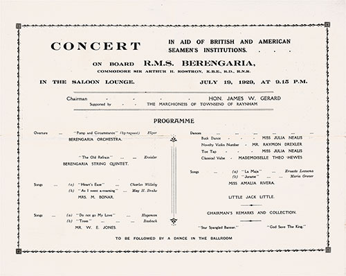 Concert Program on Board the RMS Berengaria in Aid of British and American Seamen's Institutions, 19 July 1929.