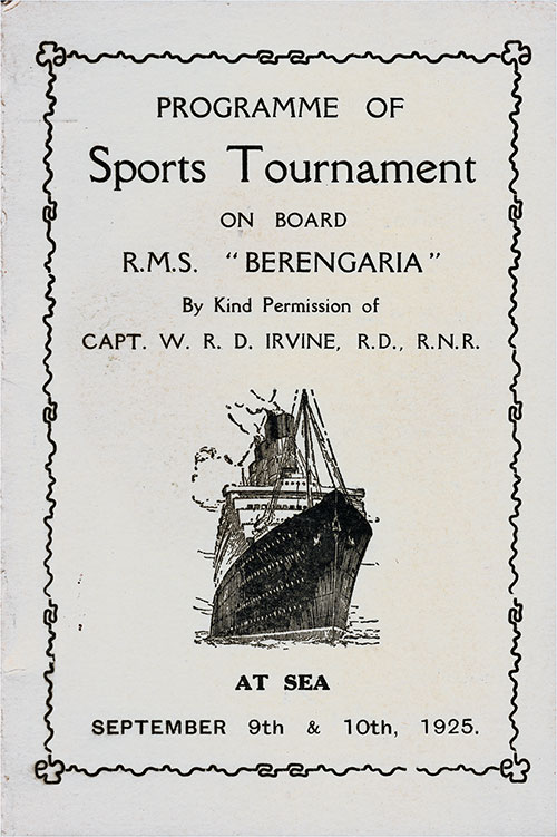 Front Cover, Sports Tournament Program on Board the RMS Berengaria at Sea, 9th and 10th of September, 1925.