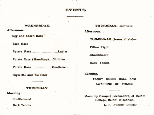 Sports Tournament Program on Board the RMS Berengaria at Sea, 9th and 10th of September, 1925.