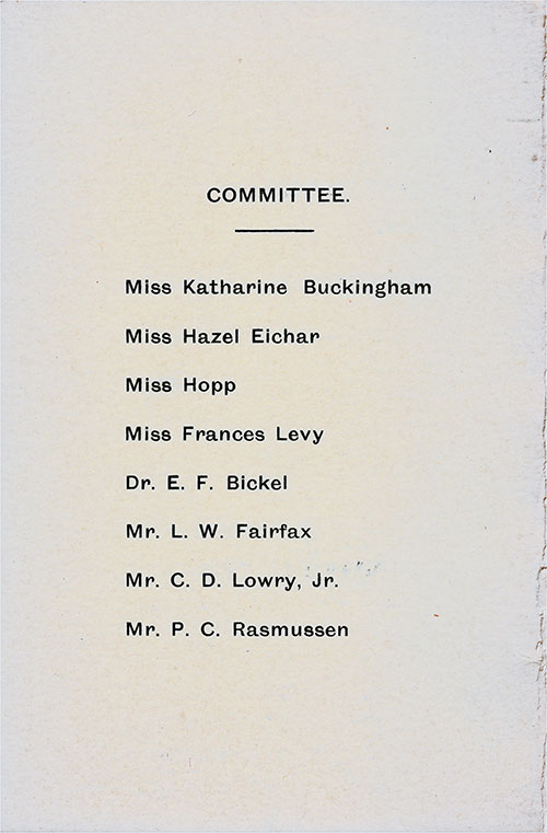 Committee Members, Sports Tournament Program on Board the RMS Berengaria at Sea, 9th and 10th of September, 1925.