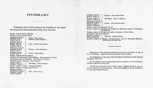 Tour B Itinerary Souvenir Program - European Cruise on the SS Carpathia of the Cunard Line, 2 July to 23 August, 1913.