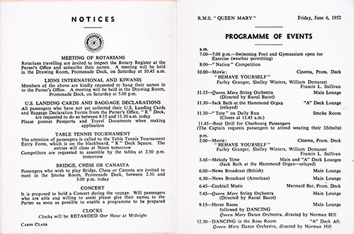 Program of Events for Friday, 6 June 1952 on Board the RMS Queen Mary.