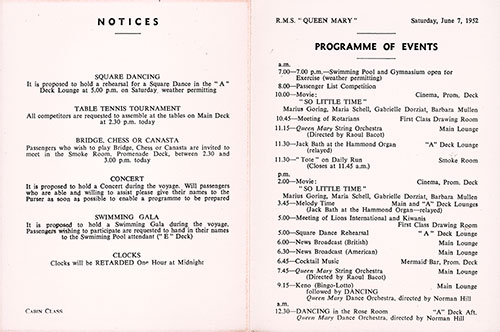 Program of Events for Saturday, 7 June 1952 on Board the RMS Queen Mary.