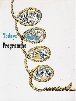 Front Cover, Program of Events for Saturday, 28 March 1953 on Board the RMS Queen Mary.