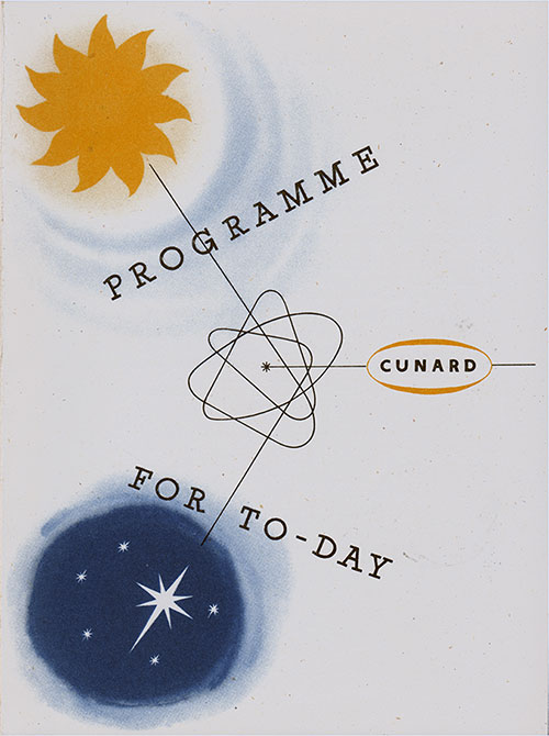 Front Cover, Program of Events for Sunday, 29 March 1953 on Board the RMS Queen Mary.