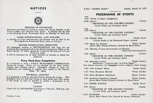 Program of Events for Sunday, 29 March 1953 on Board the RMS Queen Mary.