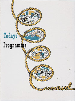 Front Cover, Program of Events for Monday, 30 March 1953 on Board the RMS Queen Mary.
