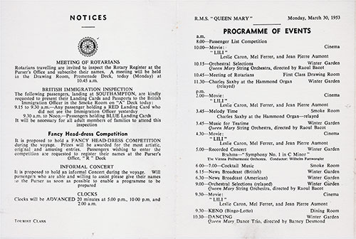 Program of Events for Monday, 30 March 1953 on Board the RMS Queen Mary.