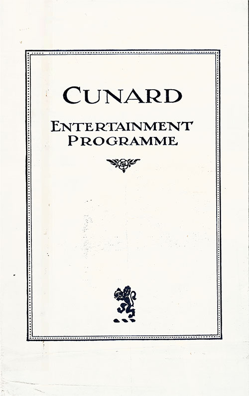 Front Cover, Entertainment Program in Aid of British and American Seamen's Institutions 1930-09-25