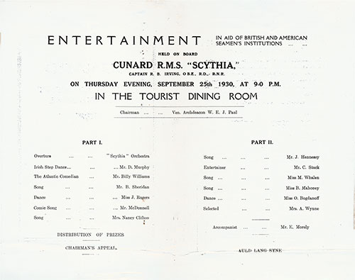 Entertainment Program in Aid of British and American Seamen's Institutions 1930-09-25