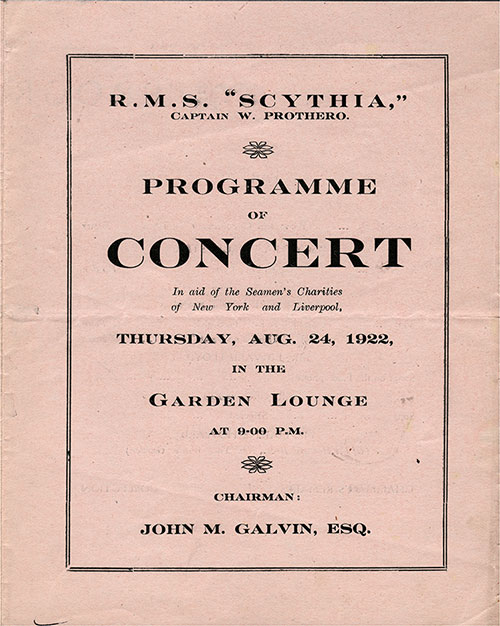 Front Cover, RMS Scythia Concert Program in Aid of the Seamen's Charities of New York and Liverpool, Thursday, 24 August 1922.