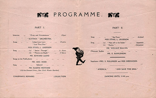 RMS Scythia Concert Program in Aid of the Seamen's Charities of New York and Liverpool, Thursday, 24 August 1922.