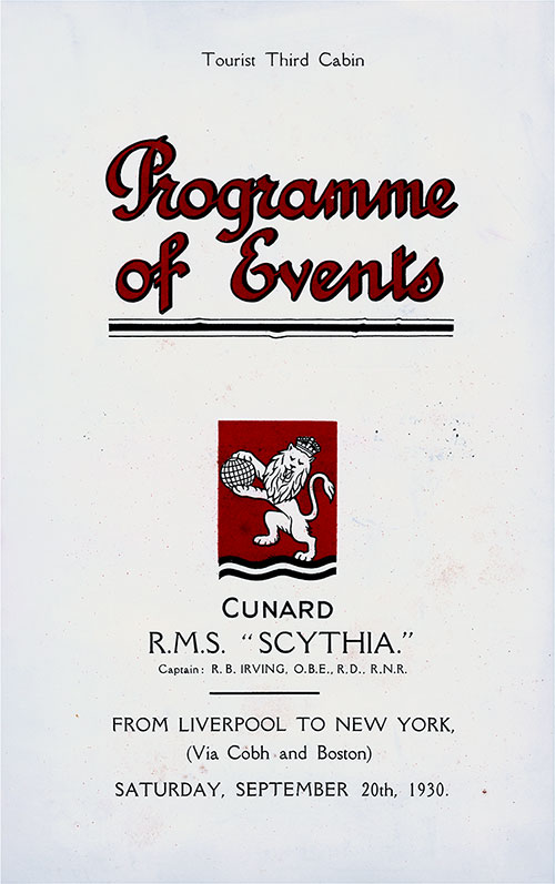 Front Cover, Tourist Third Cabin Events Program on the Cunard RMS Scythia, for Saturday, 20 September 1930