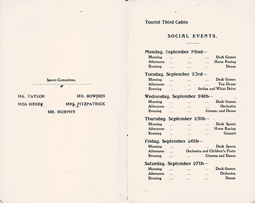 Tourist Third Cabin Events Program on the Cunard RMS Scythia, for Saturday, 20 September 1930.