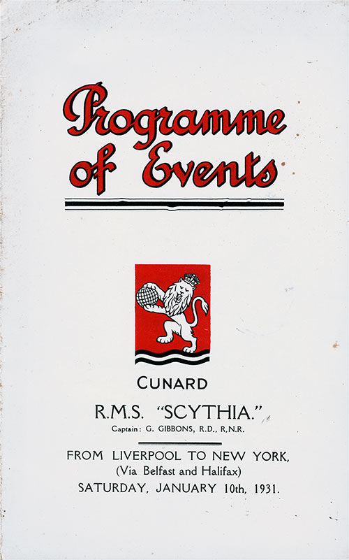Front Cover, Events Program for the Cunard RMS Scythia, Saturday, 10 January 1931.