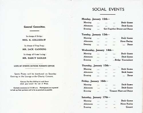 Social Events Program for the Cunard RMS Scythia, Saturday, 10 January 1931.
