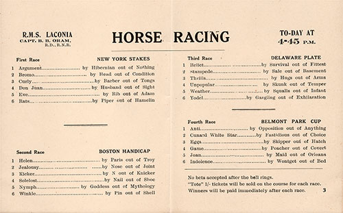 Horse Racing Program on Board the RMS Laconia, Undated but Circa 1930s.