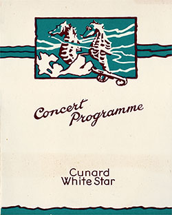 Front Cover, Cabaret Concert Program on Board the RMS Samaria, Thursday, 30 July 1936.