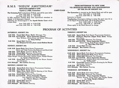 Cabin Class Activities Program from the RMS Nieuw Amsterdam for the Voyage Beginning 27 August 1938.