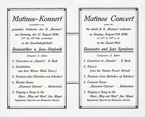 Matinee Concert Program on Board the SS Bremen, Sunday, 17 August 1930.