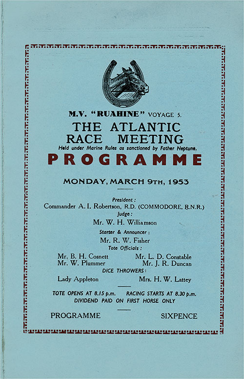 Front Cover, Horse Racing Program on Board the MV Ruahine for Monday, 9 March 1953.