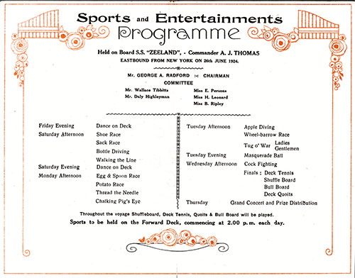 Sports and Entertainments Program Held on Board the SS Zeeland Beginning Friday, 26 June 1924.