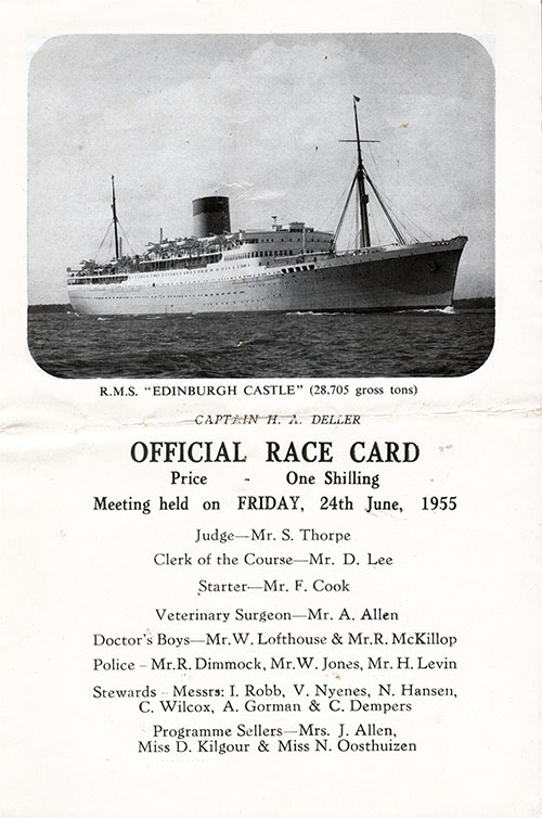 Front Cover, Horse Racing Program on Board the RMS Edinburgh Castle for Friday, 24 June 1955.