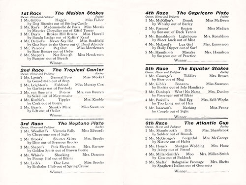 Horse Racing Program on Board the RMS Edinburgh Castle for Friday, 24 June 1955.