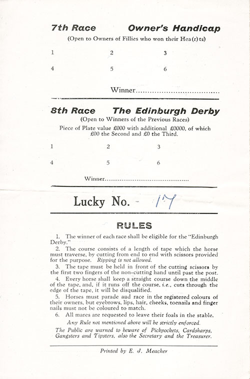 Rules for Lucky No. 17 on the Back Cover, Horse Racing Program on Board the RMS Edinburgh Castle for Friday, 24 June 1955.