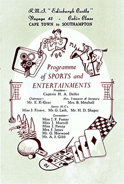 Front Cover, Sports and Entertainments Program for Voyage 43 of the RMS Edinburgh Castle, Beginning Sunday, 19 June 1955.