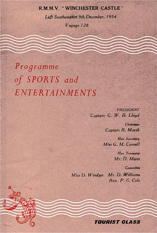 Front Cover, Tourist Class Sports & Entertainments Program on Board the RMMV Winchester Castle for Voyage 128, 9 December 1954.