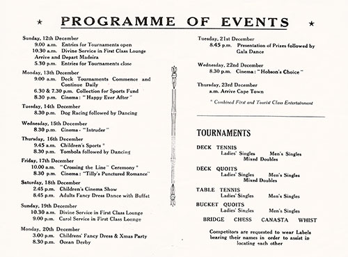 Tourist Class Sports & Entertainments Program on Board the RMMV Winchester Castle for Voyage 128, 9 December 1954.