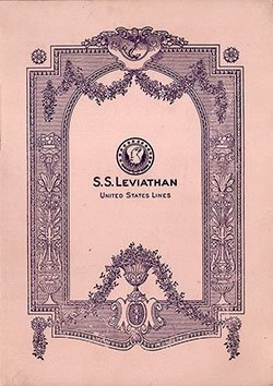 "Front Cover, Second Class Concert Program Given on Board the Flagship ""Leviathan"" on Thursday, 21 June 1928."
