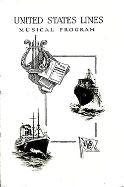 Front Cover, Musical Concert Program on Board the SS President Arthur on Wednesday, 31 October 1923.