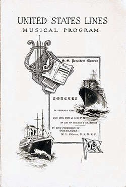Front Cover, Musical Concert Program on Board the SS President Monroe on 20 July 1920 in Aid of Seamen's Charities.