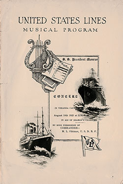 Front Cover, Musical Concert Program on Board the SS President Monroe on 10 August 1922 in Aid of Seamen's Charities.