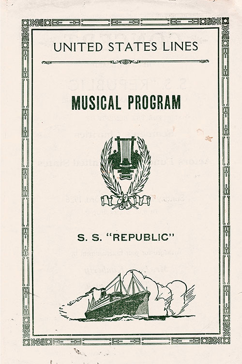 Front Cover, Musical Concert Program Held Sunday, 3 October 1926 on Board the SS Republic for the Benefit of Seamen's Charities and the Actors Fund of the United States.