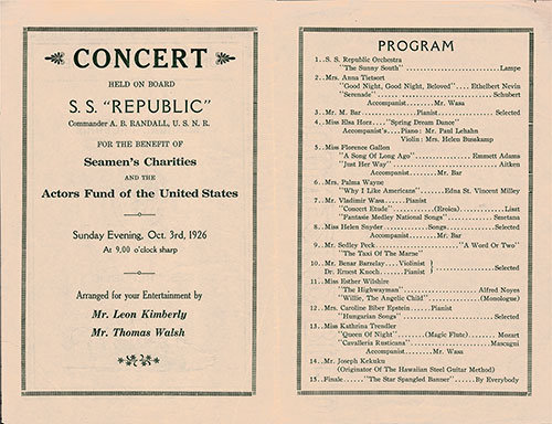 Musical Concert Program Held Sunday, 3 October 1926 on Board the SS Republic