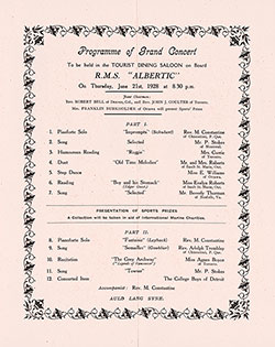 Tourist Class Grand Concert Program Held on Board the RMS Albertic on 21 July 1928.