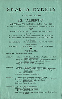 Sports Events Program For the Voyage from Montreal to London, Held on Board the SS Albertic Beginning on Friday, 14 June 1928.