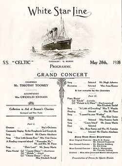 Grand Concert Program Held on Board the SS Celtic on 28 May 1928.