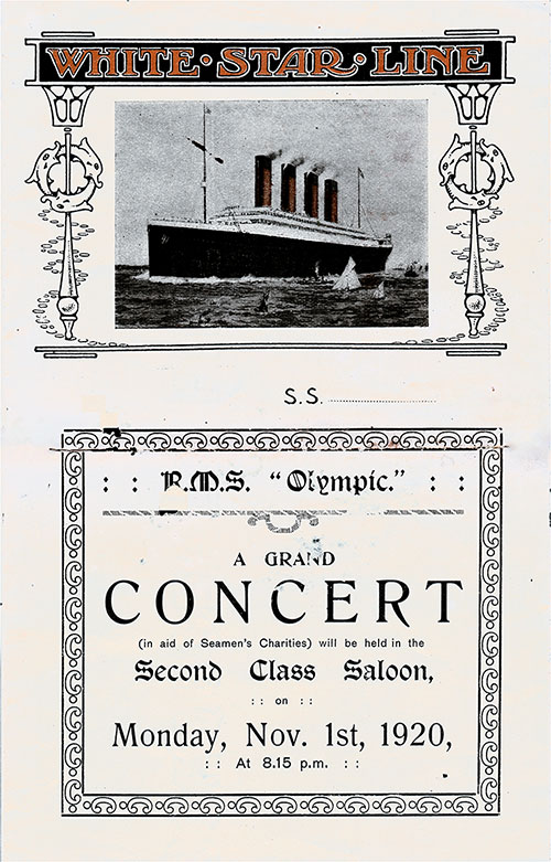 Front Cover, Second Class Grand Concert Program Held on Board the RMS Olympic on Monday, 1 November 1920.