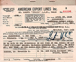 Passenger's Receipt and Copy of the Transportation Contract, American Export Lines, Agents for Italia S.A.N. Genoa