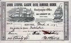 "Passage Ticket, Black Ball Line, 16 March 1859 on the Packet Ship ""Yorkshire"" - Nicholas Fish, New York to Bremen."
