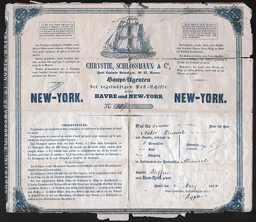 Front of Steerage Passage Contract from 1854, Le Havre to New York